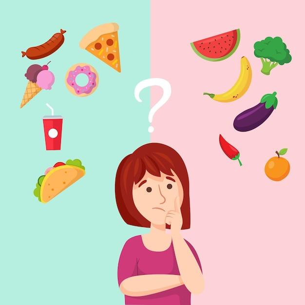 Meisje dat over gezond en snel voedsel denkt Gratis Vector