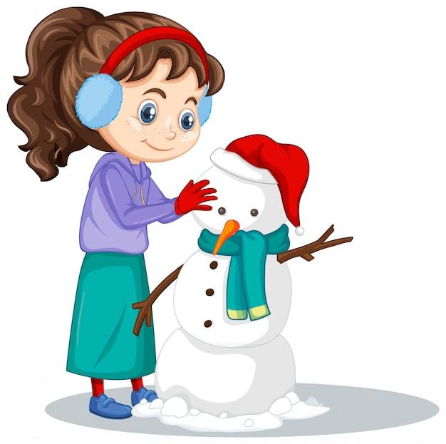 Meisje dat sneeuwman geïsoleerd maakt Gratis Vector