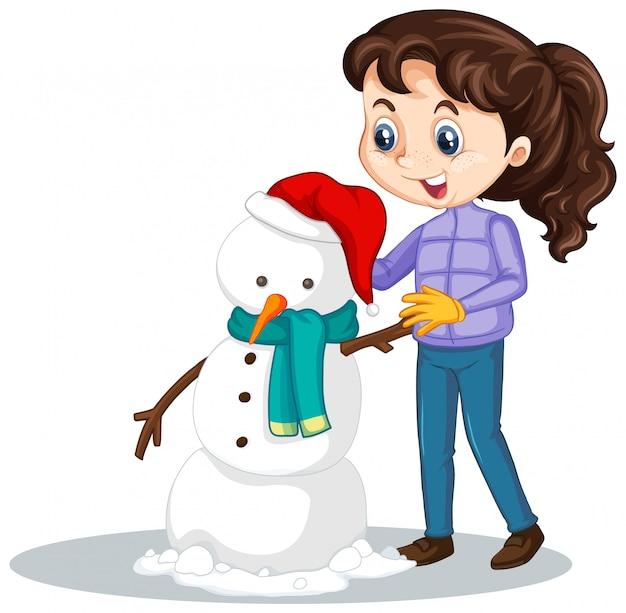 Meisje dat sneeuwman op geïsoleerd maakt Gratis Vector