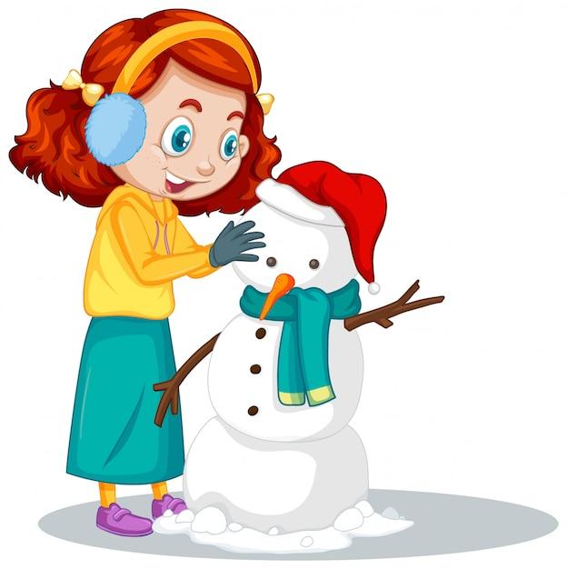 Meisje dat sneeuwman op wit maakt Gratis Vector