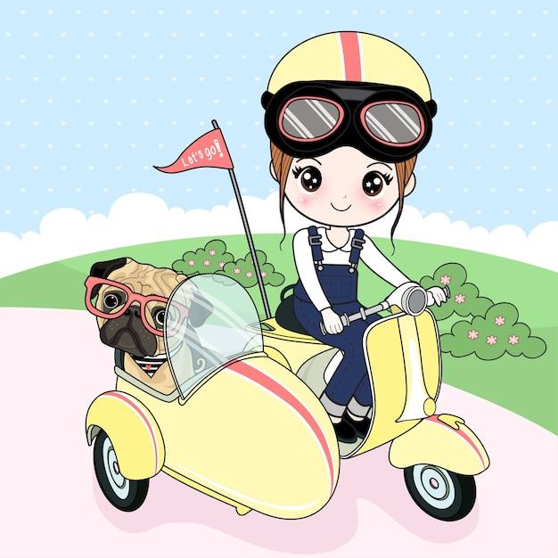 Meisje die een vespa met een pughond drijven Premium Vector