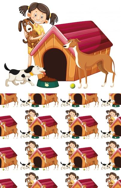 Meisje en honden patroon Gratis Vector