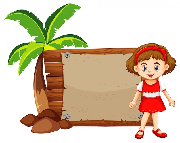 Meisje en houten bord door de kokospalm Gratis Vector