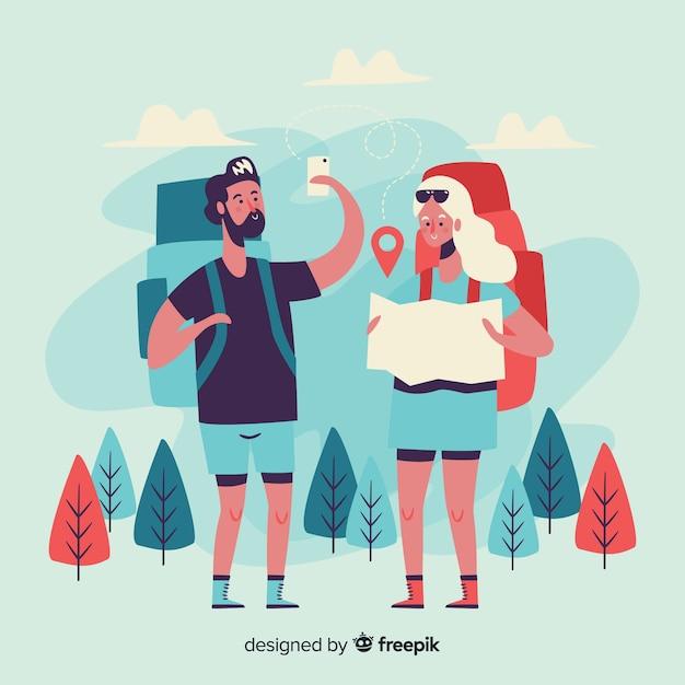 Meisje en jongen die naar de bergen reizen Gratis Vector