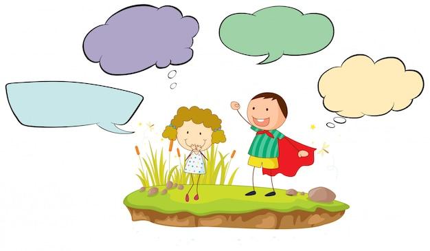 Meisje en jongen met tekstballonnen Gratis Vector