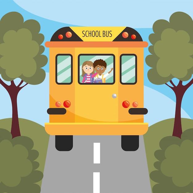 Meisje en jongensstudenten in de schoolbus Premium Vector