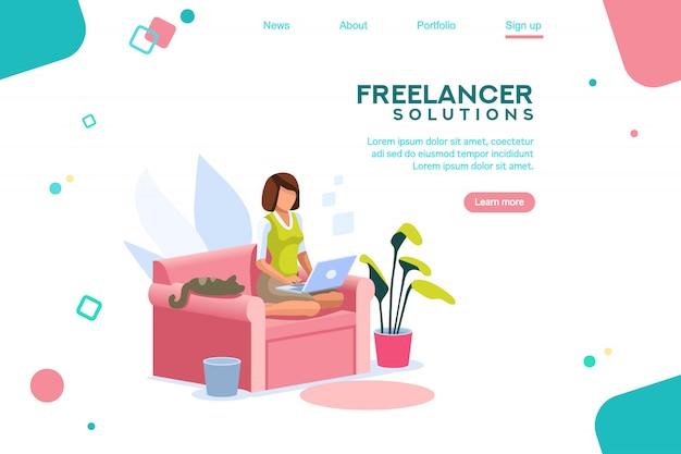 Meisje freelancer sjabloon homepage Premium Vector