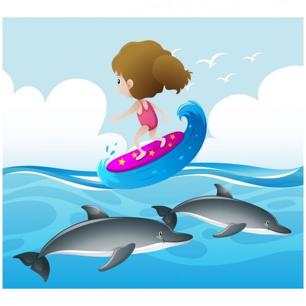 Meisje het beoefenen van surfen op de zee Gratis Vector
