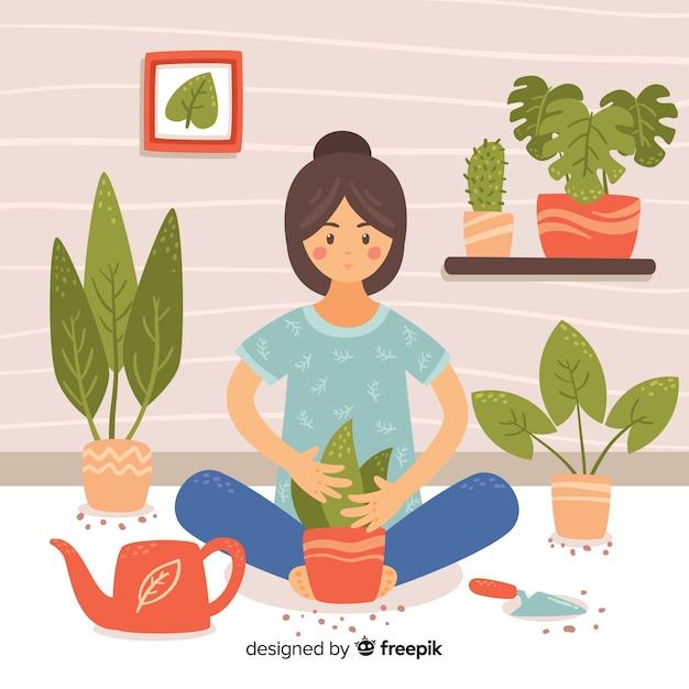 Meisje het verzorgen van planten Gratis Vector