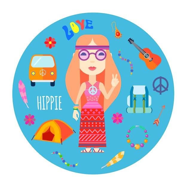 Meisje hippie karakter met rood haar gitaar en rugzak accessoires Gratis Vector