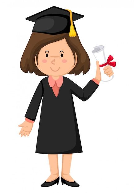 Meisje in afstuderen jurk Premium Vector