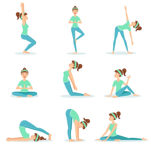 Meisje in blauwe trainingskleren demonstrerende yoga asana Premium Vector