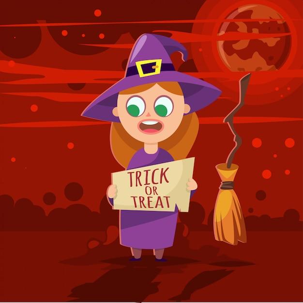 Meisje in halloween-vector het beeldverhaalillustratie van het jonge geitjeskostuum. Premium Vector