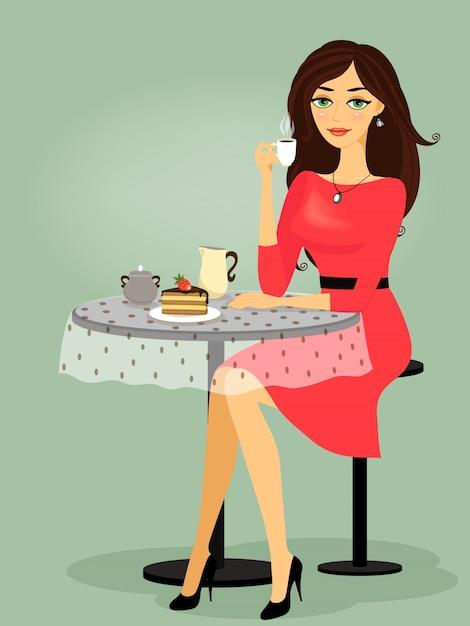 Meisje in het café, lege promo Gratis Vector