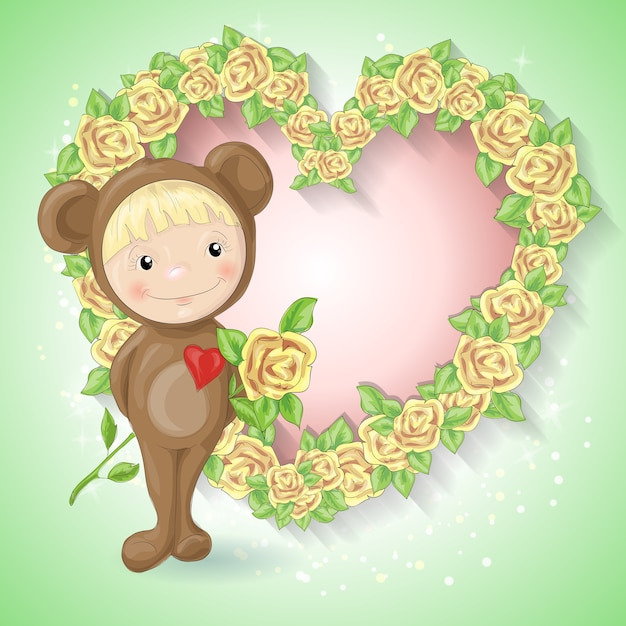 Meisje in het pak van een teddybeer met een roos. Premium Vector