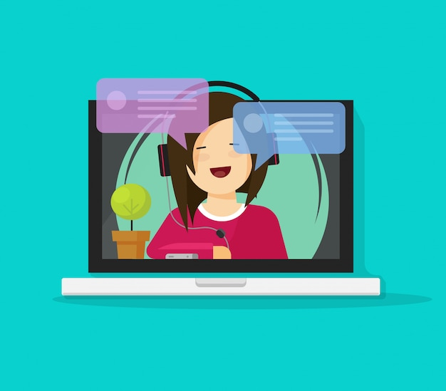 Meisje in hoofdtelefoon chatten of praten op internet op laptop computer vector platte cartoon Premium Vector