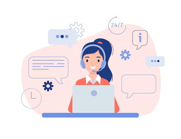 Meisje in hoofdtelefoons die achter laptop zitten. het concept van online hulp, training en advies aan klanten. Premium Vector