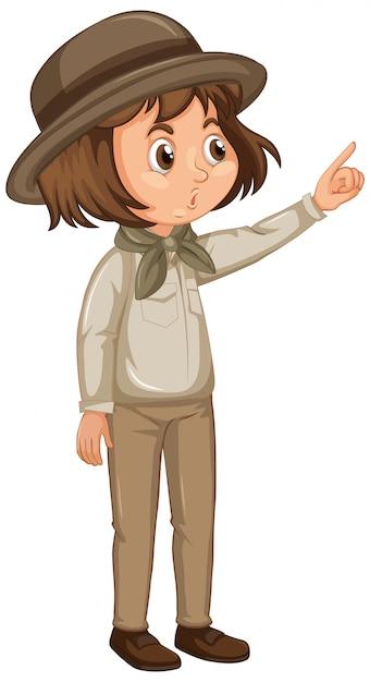 Meisje in safari outfit Gratis Vector