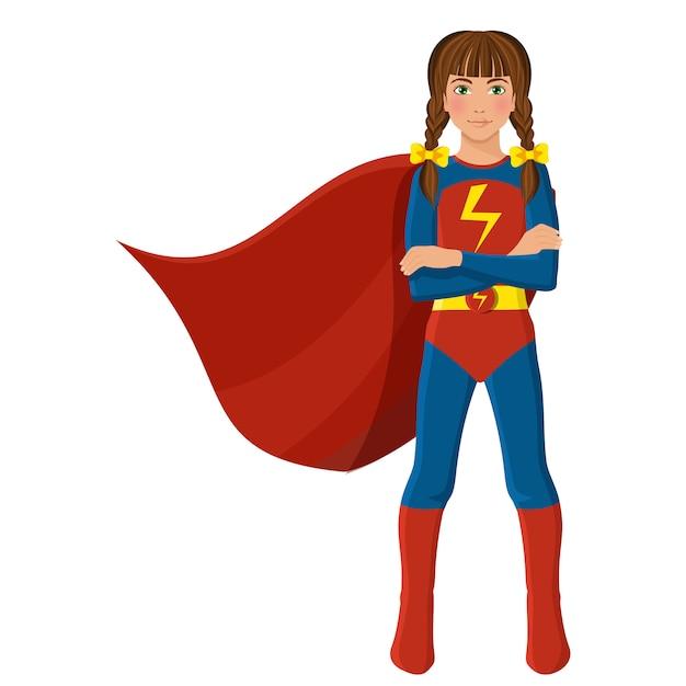Meisje in superheld kostuum Premium Vector