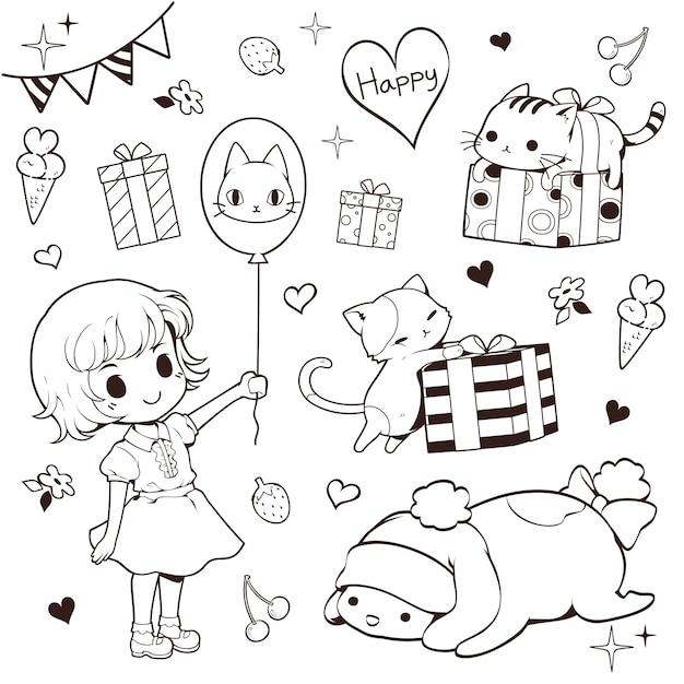 Meisje, katten en huidige doodle set Premium Vector