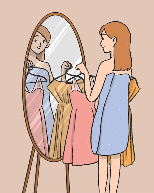 Meisje kies jurk voor spiegel stripfiguur Premium Vector