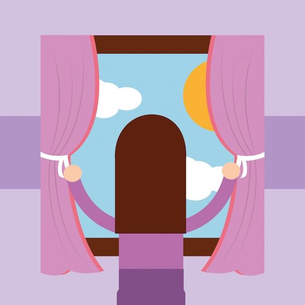 Meisje kijkt uit het raam ochtendscène Premium Vector
