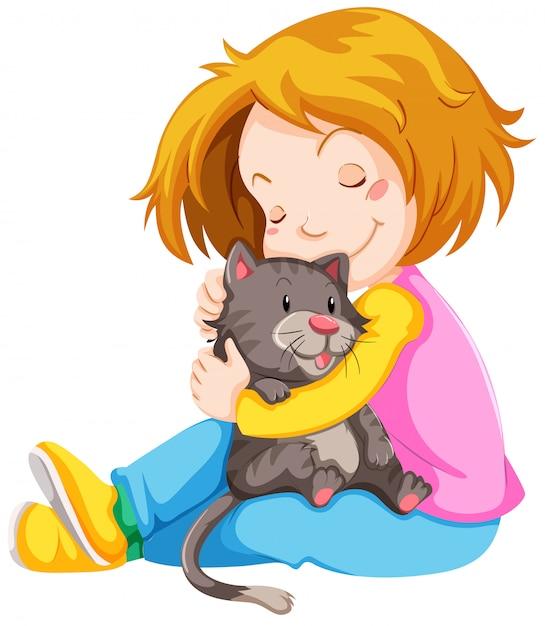 Meisje knuffelen schattige kitten Gratis Vector