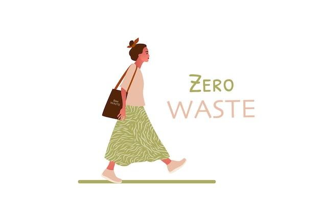Meisje loopt. nul afval of ecologie concept hand getrokken illustratie Premium Vector