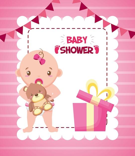 Meisje met beer voor baby shower kaart Gratis Vector