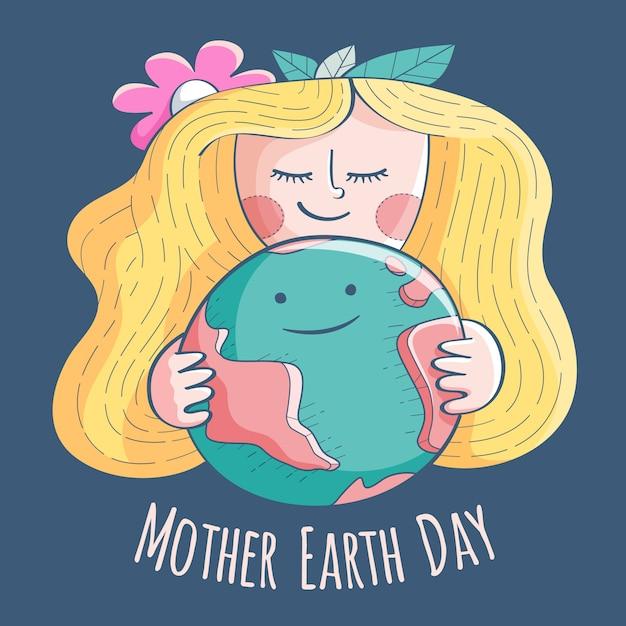 Meisje met blonde haar moeder aarde dag Gratis Vector