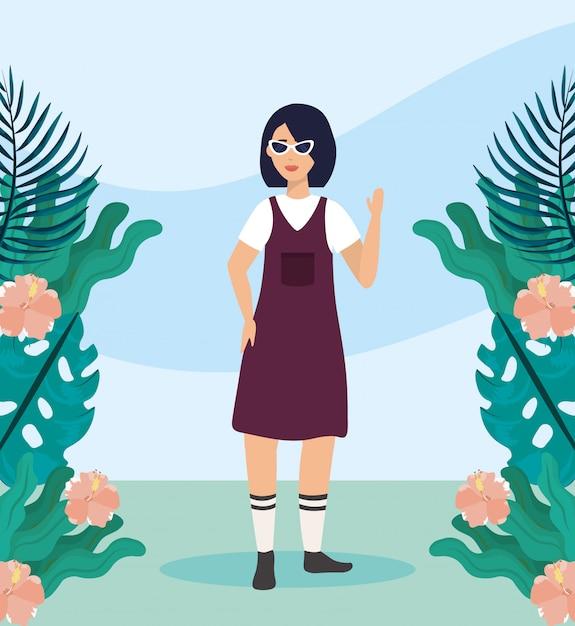 Meisje met blouse en kleding vrijetijdskleding Gratis Vector