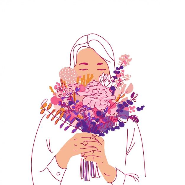 Meisje met boeketpf bloemengroeten Premium Vector