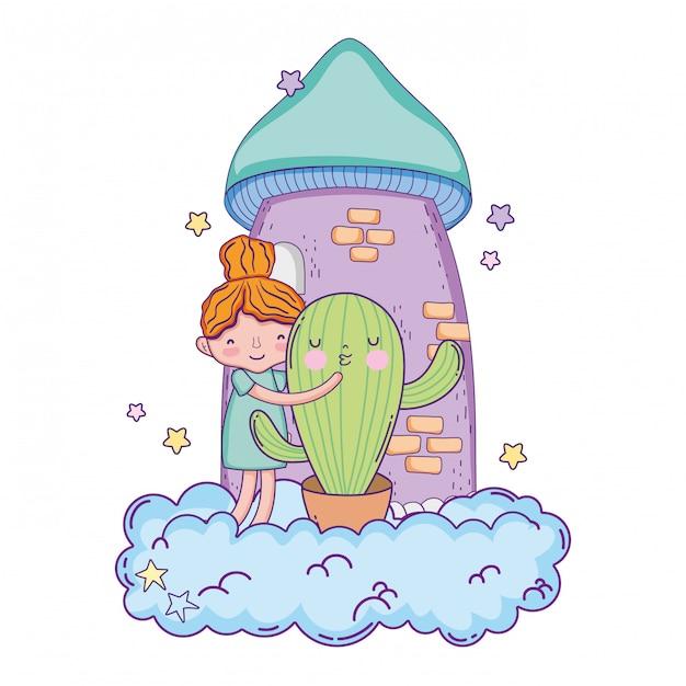 Meisje met cactus kawaii karakter Premium Vector