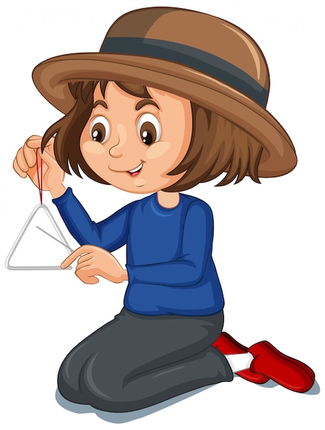 Meisje met driehoek Gratis Vector