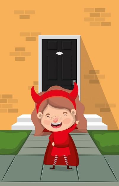 Meisje met duivelskostuum binnenshuis karakter Premium Vector