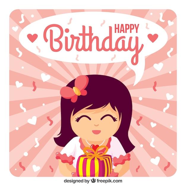 Meisje Met Een Gift Gelukkige Verjaardag Vector Premium Download