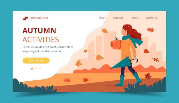 Meisje met een pompoen in de herfst. landingspagina sjabloon. Premium Vector