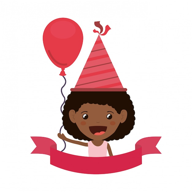 Meisje met feestmuts in verjaardagsviering Premium Vector