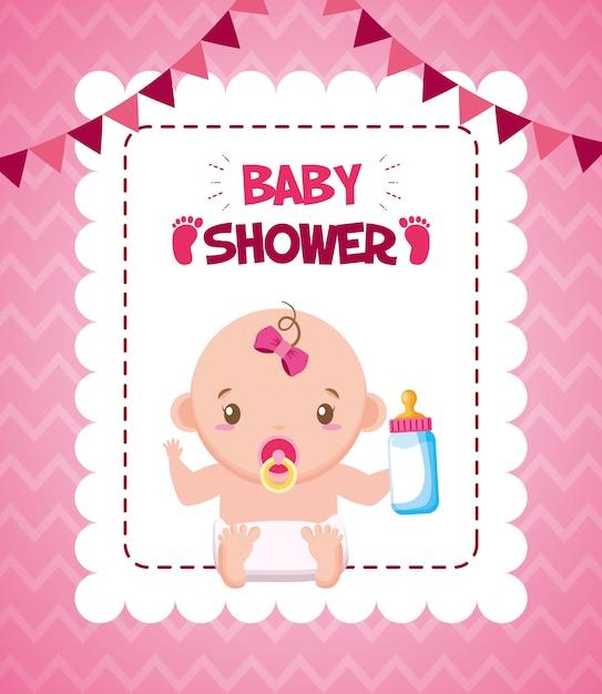 Meisje met fles melk voor baby shower kaart Gratis Vector