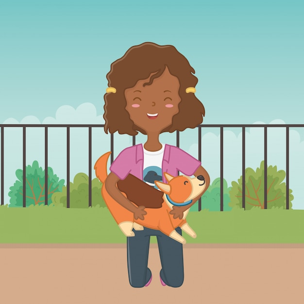 Meisje met hond cartoon ontwerp Gratis Vector