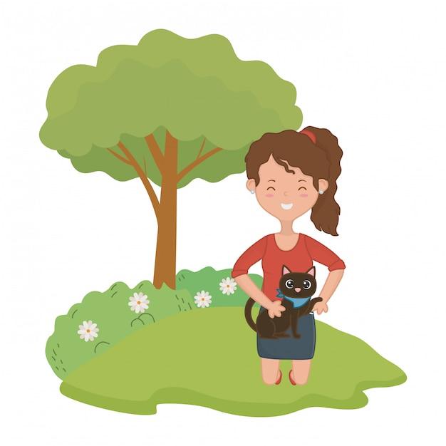 Meisje met kat cartoon ontwerp Gratis Vector