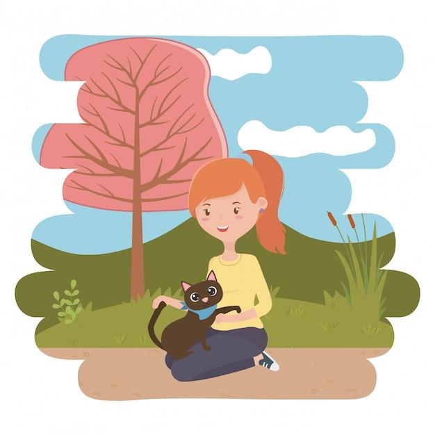 Meisje met kat van cartoon Gratis Vector