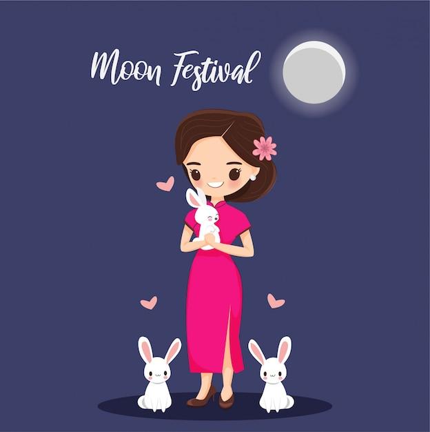 Meisje met konijn voor de banner van het maanfestival Premium Vector