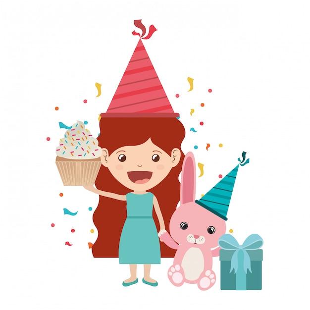 Meisje met konijntje in verjaardagsviering Premium Vector