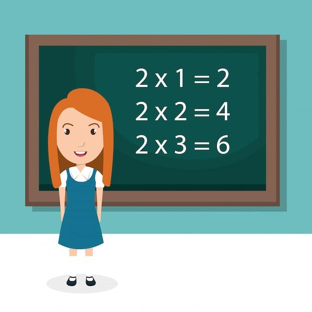 Meisje met krijtbord klas karakter Gratis Vector