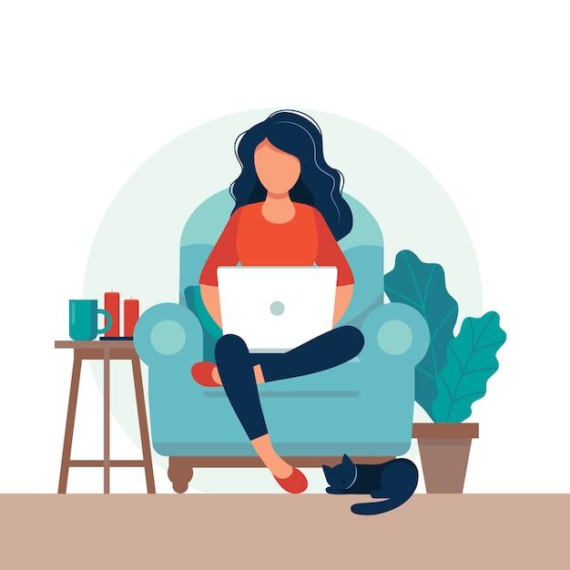 Meisje met laptop op de stoel. freelance of studeren concept. Premium Vector