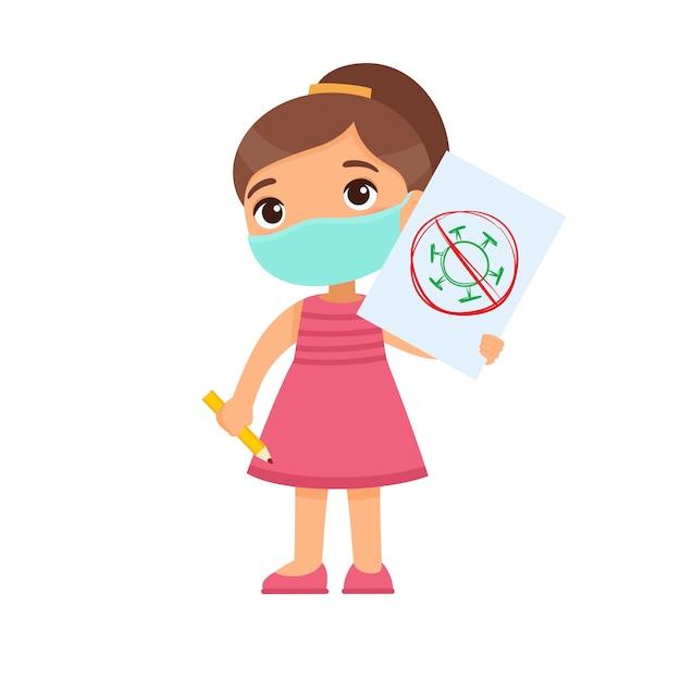 Meisje met medisch het document van de maskerholding blad met virusbeeld. schattig schoolkind met afbeelding en potlood in handen geïsoleerd op een witte achtergrond. bescherming tegen virussen. Gratis Vector