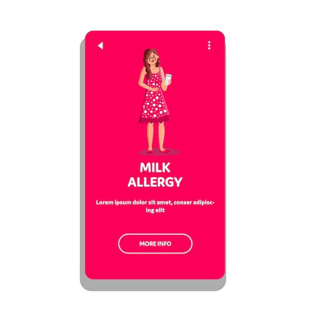 Meisje met melkallergie en maagpijn Premium Vector
