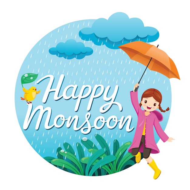 Meisje met paraplu en regenjas speels in de regen springen op cirkelframe, gelukkig moesson Premium Vector