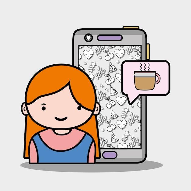 Meisje met smartphone en koffie cup chat Premium Vector